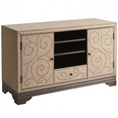 "Cocoa Upholstered Nailhead 50"" TV Stand 