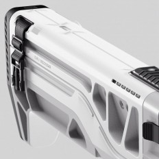 "Edon Guraziu on Instagram: ""Closeup of the rifle stock in white color format. I'm looking into printing this weapon out since its all CAD so I can finally experience the physical design. Will keep you posted. #concept #design #industrial #weapon #rifle #stock #scifi #modern #future #digital #keyshot #render #art #moi3D #visual #engineering #conceptart #edonguraziu"""