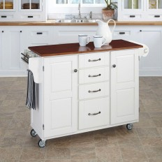 Home Styles Create-a-Cart Wood Top Kitchen Cart with Towel Bar in White-9100-1027G - The Home Depot