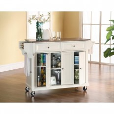 Crosley 52 in. Stainless Steel Top Kitchen Island Cart in White-KF30002EWH - The Home Depot