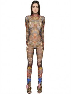 DSQUARED2 - TRIBAL PRINTED SHEER STRETCH JUMPSUIT - JUMPSUITS - MULTICOLOR - LUISAVIAROMA