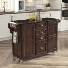 Home Styles Country Comfort 52.75 in. W Kitchen Cart with Wood Top in Aged Bourbon-5522-9101 - The Home Depot