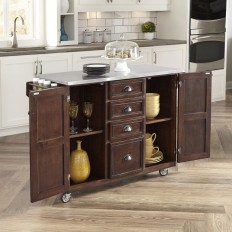 Home Styles Country Comfort 52.75 in. W Kitchen Cart with Stainless Top in Aged Bourbon-5522-9102 - The Home Depot