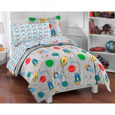 Space Rocket Twin-size 5-piece Bed in a Bag with Sheet Set | eBay