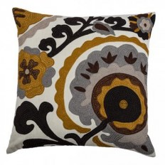 "Suzette Embroidered 20"" Pillow - Embroidered Pillow - Sofa Pillow - Decorative Throw Pillows - Toss Pillows 