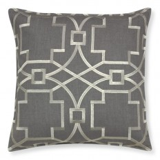 Medallion Embroidered Linen Pillow Cover, Gray/Silver | Williams-Sonoma