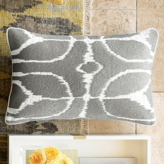 Embroidered Ikat Lumbar Pillow Cover, Gray | Williams-Sonoma