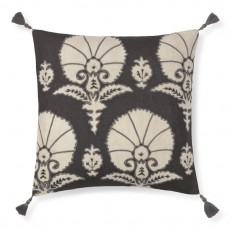 Ottoman Floral Velvet Applique Pillow Cover, Gray | Williams-Sonoma