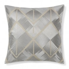 All Over Embroidered Diamond Pillow Cover, Silver | Williams-Sonoma