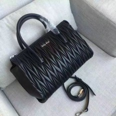 Miu Miu Matelassse Nappa Leather Top Handle Bag Black 5BB003