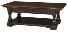 Hammary Dorset Rectangular Cocktail Table in Black with Pretzel Brown - Traditional - Coffee Tables - by Beyond Stores