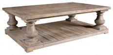 Gamble Rustic Lodge Salvaged Fir Stone Wash Coffee Table - Rustic - Coffee Tables - by Kathy Kuo Home