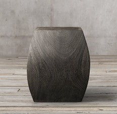Suar Wood Curved Cube Stool