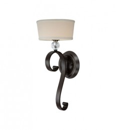 Quoizel UPMM8701WT Uptown Madison Manor 1 Light 9 inch Western Bronze Wall Sconce Wall Light in Light Beige Fabric Shade
