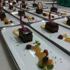 Chocolate Parfait with Apple Marinade