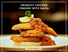 Crunchy chicken fingers with salsa