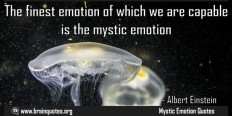 The finest emotion of which we are capable is the mystic emotion
