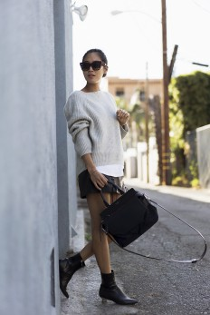 Sweater and Leather Skirt for Fall in LA | Song of Style