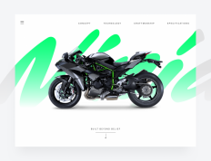 The Kawasaki Ninja H2™R hypersport motorcycle landing page on Inspirationde