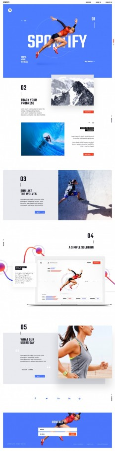 Sportify App Landing Page on Inspirationde