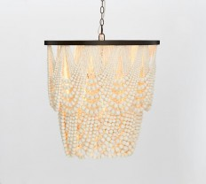 Amelia Indoor/Outdoor Wood Bead Chandelier | Pottery Barn