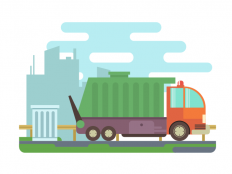 Garbage truck flat illustration