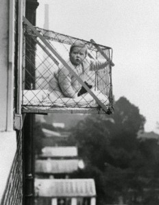 vintage everyday: Baby cages in an apartment building, ca. 1937