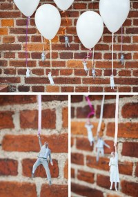 Flying people on balloons in Crafts for babies, kids and adults parties