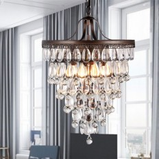 Martinee Antique Bronze and Crystal Inverted Pyramid Chandelier - Free Shipping Today - Overstock.com - 16479074