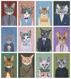 Cat in Clothes, Adorable Paintings by Heather Mattoon