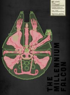 Spaceship Skeletal Survey: The Millennium Falcon Art Print by Josh Ln | Society6