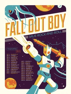 Fall Out Boy 'Save Rock and Roll' Tour Poster Designed by Dave Perillo