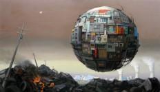 Surreal Paintings of Floating Ramshackle Orbs