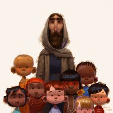 Jesus and the little children on