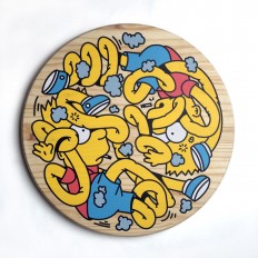 adihash — 'Bart Yin Yang' screen print on wood