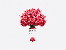 Red Pixel Tree by Diana Hlevnjak