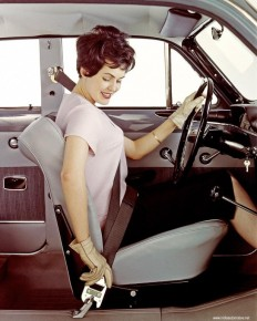 My grandmother demonstrating the Three-point belt as a model for Volvo in 1959 : OldSchoolCool