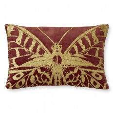 Metallic Embroidered Butterfly Pillow Cover, Rust/Gold | Williams Sonoma