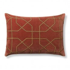 Moorish Tile Embroidered Velvet Lumbar Pillow Cover, Rust/Bronze | Williams Sonoma