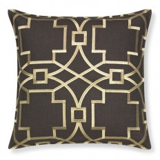 Medallion Embroidered Linen Pillow Cover, Brown/Gold | Williams Sonoma