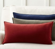 Washed Velvet Zip Lumbar Pillow Cover | Pottery Barn