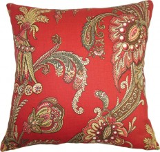 """The Pillow Collection Inc. Leauna Floral, Down Feather Filler Pillow, Red, 20""""x20"""" - Decorative Pillows 