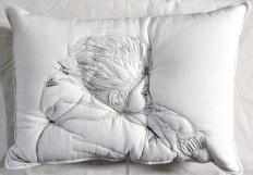Sleeping People Embroidered Onto Handmade Pillows by Maryam Ashkanian | Colossal