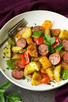Sheet Pan Turkey Sausage Potato and Pepper Hash - Cooking Classy