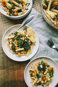 GARLICKY PENNE WITH BUTTERNUT SQUASH, BROCCOLI RABE AND CANNELLINI BEANS — A Thought For Food