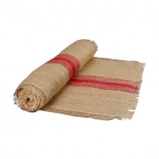 "12.5"" x 108"" Jute Table Runner with Red Stripes 