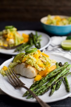 Grilled White Fish with Mango Jalapeno Coleslaw | Easy Healthy Recipes Using Real Ingredients