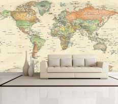 World Political Map Wall Decal - Antique Oceans - Contemporary - Wall Decals - by 1-World Globes & Maps