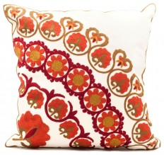 Alpona Floral Embroidered Pillow Cover - Decorative Pillows - by HouseThat