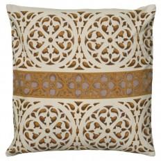 """Rizzy Home PILT06068BEBR1818 Beige 18"""" x 18"""" Pillow with Hidden Zipper and Polyester Filler - LightingDirect.com"""